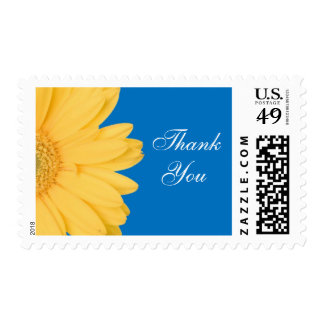 Yellow and Blue Gerber Daisy Thank You Stamps