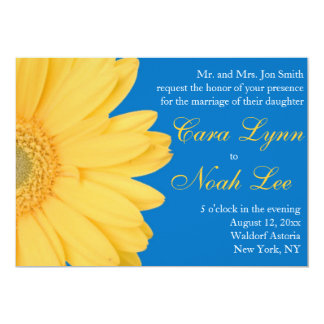 Yellow and Blue Gerber Daisy Wedding Invitation