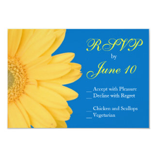 Yellow and Blue Gerber Daisy Wedding RSVPs 3.5x5 Paper Invitation Card