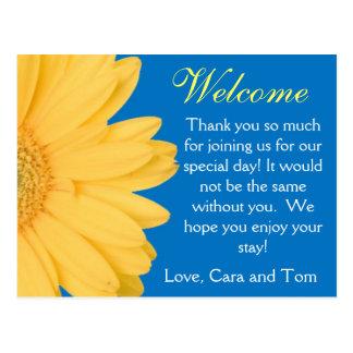 Yellow and Blue Gerber Daisy Wedding Welcome Bag Postcard