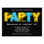 Yellow and Blue Grunge Birthday Party Invitations