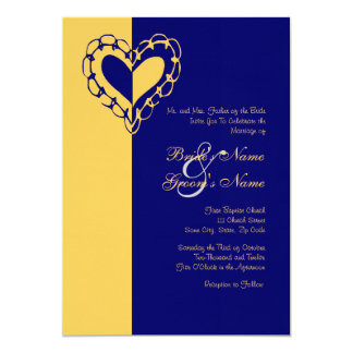 Yellow and Blue Heart Wedding Invitation
