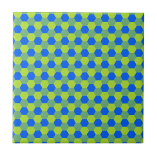 Yellow and blue honeycomb pattern ceramic tile