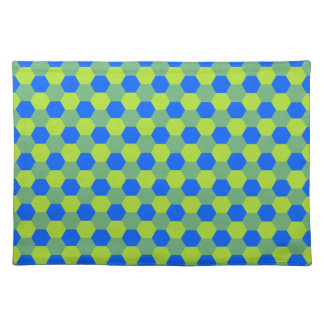 Yellow and blue honeycomb pattern cloth placemat