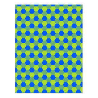 Yellow and blue honeycomb pattern postcard