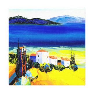Yellow and Blue Landscape Canvas Print