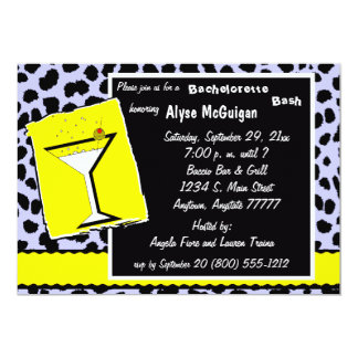 Yellow And Blue Leopard Martini Party Invitation