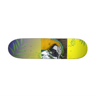 yellow and blue macaw parrot skateboard deck