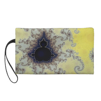 Yellow and Blue Mandelbrot Fractal Wristlet