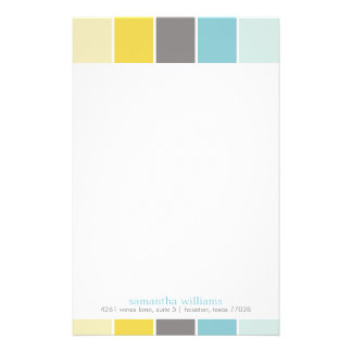 Yellow and Blue Modern Decorative Color Blocks Stationery