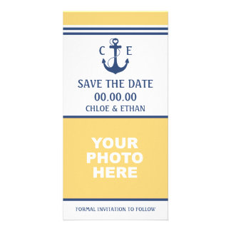 Yellow and Blue Nautical Photo Save the Date Card