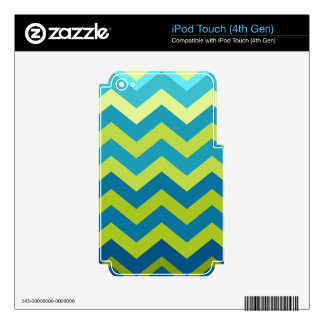 Yellow and Blue Ombre Zigzags Decals For iPod Touch 4G