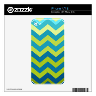 Yellow and Blue Ombre Zigzags Decals For The iPhone 4