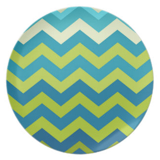 Yellow and Blue Ombre Zigzags Melamine Plate