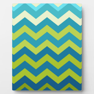 Yellow and Blue Ombre Zigzags Plaque