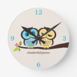 Yellow and Blue Owl Couple Clocks