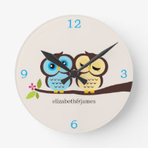 Yellow and Blue Owl Couple Round Clock
