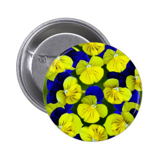 Yellow and blue pansies 2 inch round button