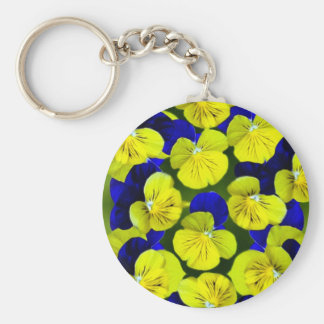 Yellow and blue pansies keychain