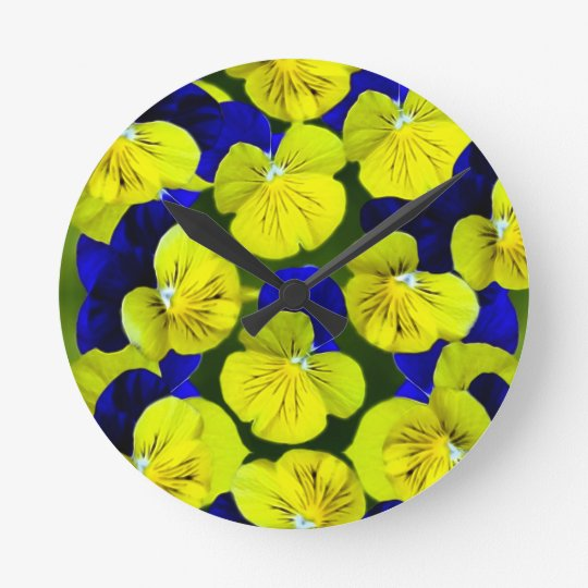 Yellow and blue pansies round clock