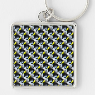 Yellow and Blue Pattern Keychain