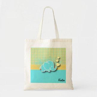 Yellow and Blue Plaid Baby Elephant Nursery Theme Budget Tote Bag