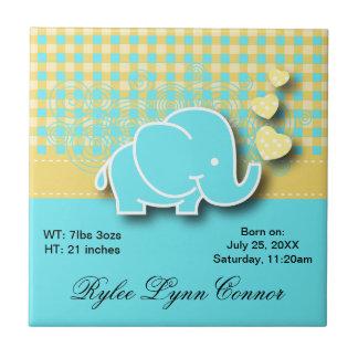 Yellow and Blue Plaid Baby Elephant Nursery Theme Tile