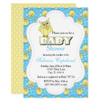 Yellow and Blue Polka Dot Owl | Baby Shower Theme Card