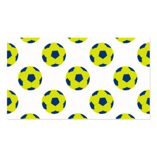 Yellow and Blue Soccer Ball Pattern Business Card