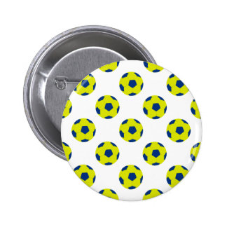 Yellow and Blue Soccer Ball Pattern Pinback Button