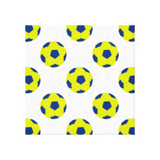 Yellow and Blue Soccer Ball Pattern Canvas Print