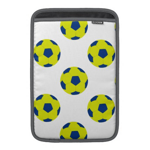 Yellow and Blue Soccer Ball Pattern MacBook Sleeves