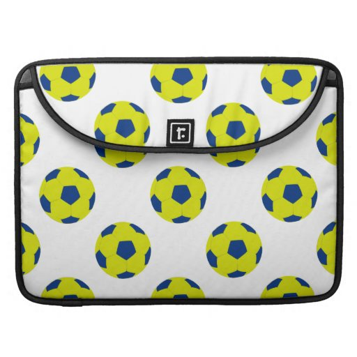 Yellow and Blue Soccer Ball Pattern MacBook Pro Sleeves