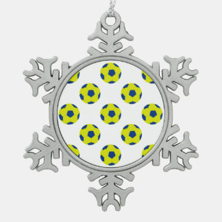 Yellow and Blue Soccer Ball Pattern Snowflake Pewter Christmas Ornament