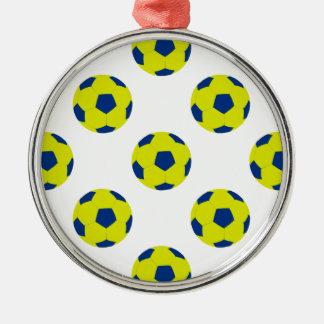 Yellow and Blue Soccer Ball Pattern Round Metal Christmas Ornament