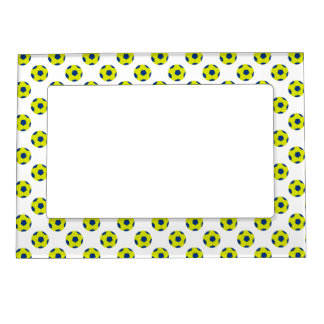 Yellow and Blue Soccer Ball Pattern Photo Frame Magnet