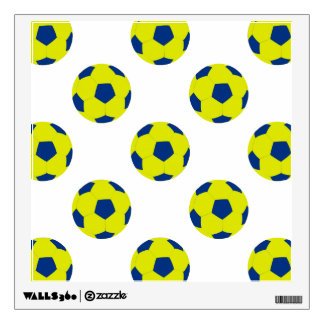 Yellow and Blue Soccer Ball Pattern Room Decal