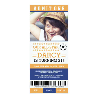 Yellow and Blue Soccer Ticket Birthday Invites