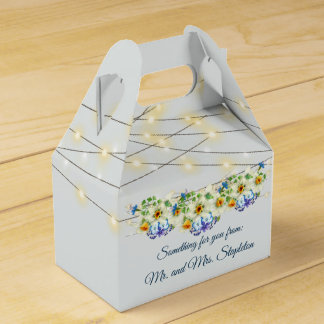 Yellow and Blue Spring Wedding Favor Box