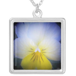 Yellow and Blue Square Pendant Necklace