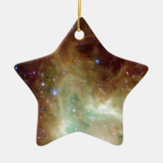 Yellow and Blue Star Cluster Ceramic Ornament