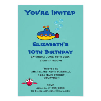 Yellow and Blue Submarine Party Invitation Card