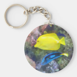 Yellow and Blue Tang Fish Basic Round Button Keychain