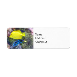 Yellow and Blue Tang Fish Return Address Labels