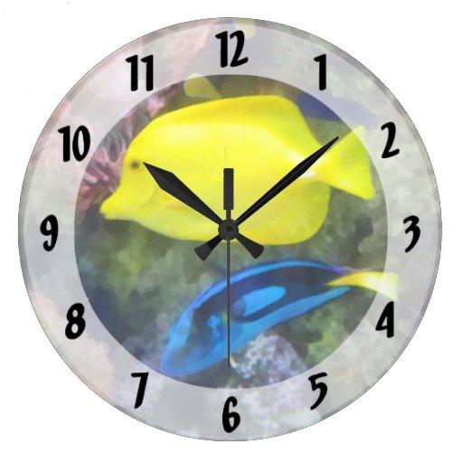 Yellow and Blue Tang Fish Round Wall Clock