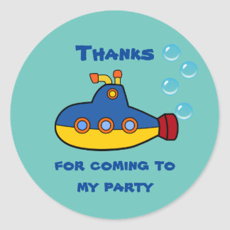 Yellow and Blue Toy Submarine Birthday Thank You Classic Round Sticker