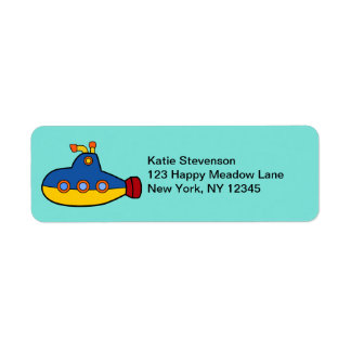 Yellow and Blue Toy Submarine Label