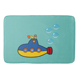 Yellow and Blue Toy Submarine with Water Bubbles Bathroom Mat