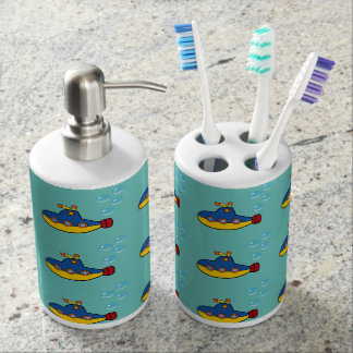 Yellow and Blue Toy Submarine with Water Bubbles Bathroom Set