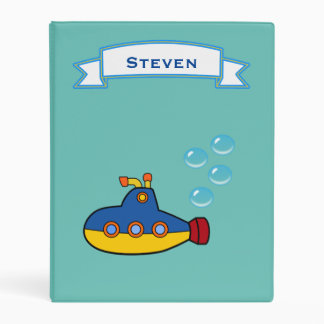 Yellow and Blue Toy Submarine with Water Bubbles Mini Binder